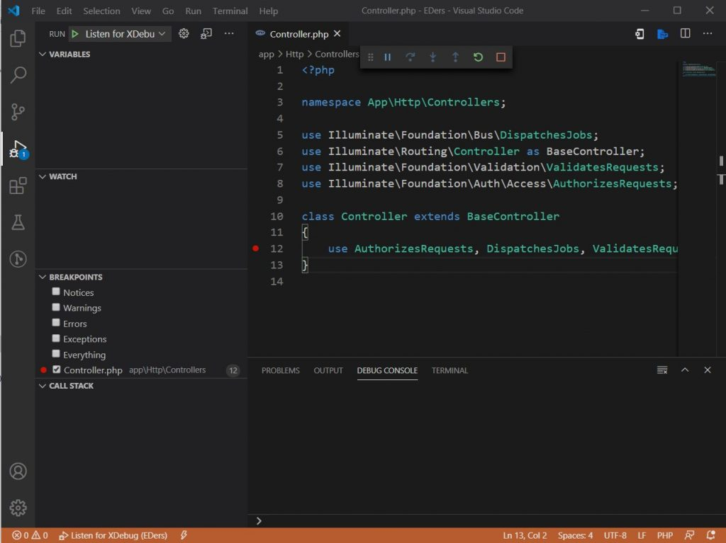 Debugging using PHP Debug